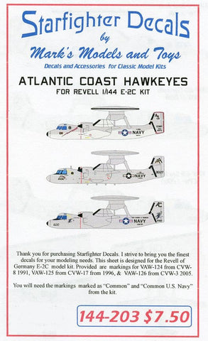 Starfighter Decals 1/144 Atlantic Coast E2C Hawkeyes for RVL