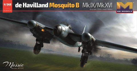This is a plastic model assembly kit of the HK Models 1/32 scale WWII British RAF DeHavilland Mosquito B Mk IX/XVI British Bomber aircraft.