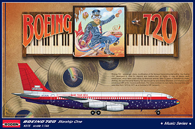 Roden Aircraft 1/144 B720 Starship One Led Zeppelin, Elton John Band Tour Passenger Airliner Kit
