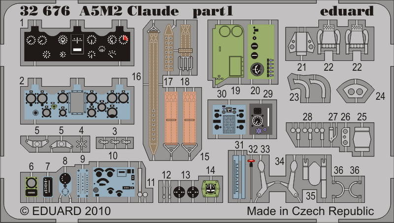 Eduard Details 1/32 Aircraft- A5M2 Claude for SHY (Painted Self Adhesive)