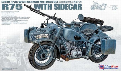 Lion Roar Military 1/35 WWII German BMW R75 Motorcycle (2) Kit