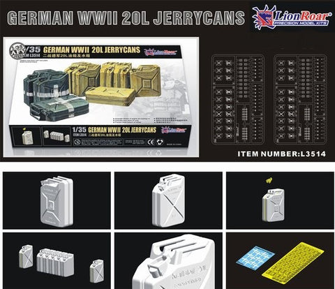 Lion Roar Military 1/35 WWII German 20L Jerrycans (Over 20) Kit