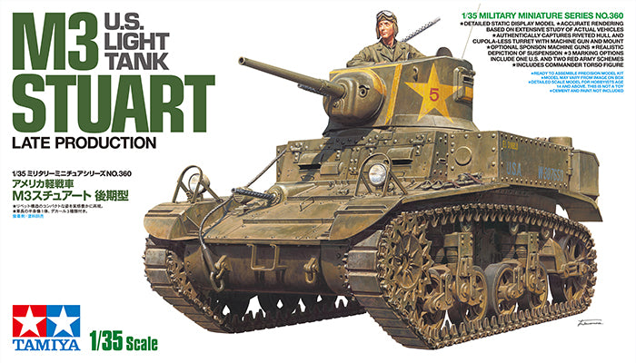 Tamiya Military 1/35 US M3 Stuart Late Production Light Tank (New Tool) Kit