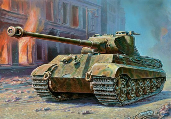 Zvezda Military 1/35 German PzKpfw VI Tiger II Ausf B (Porsche Turret) Heavy Tank Kit