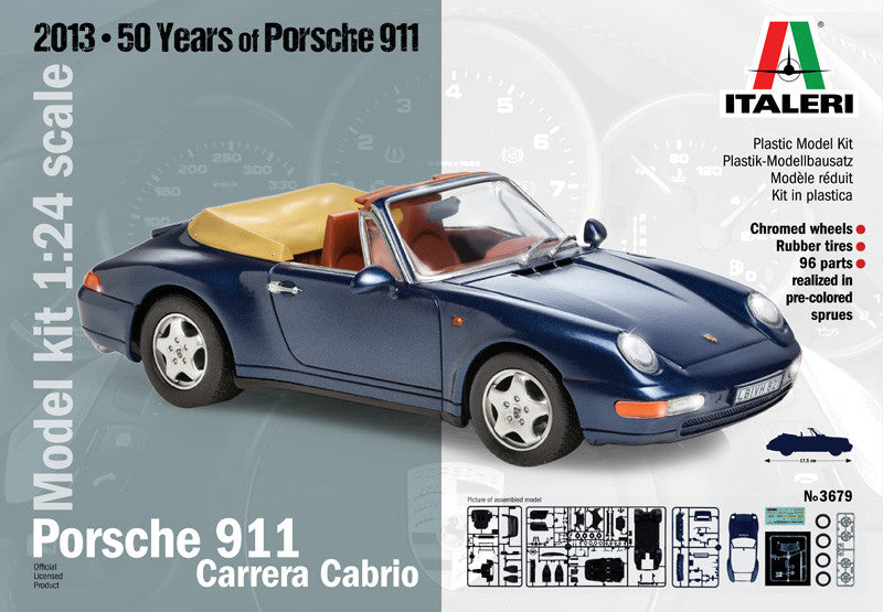 Italeri Model Cars 1/24 Porsche 911 Carrera Convertible Kit
