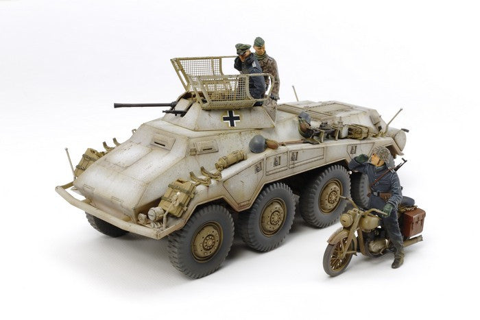 Tamiya Military 1/35 German SdKfz 234/1 Heavy Armored Car w/2cm Gun, Motorcycle & Crew Kit