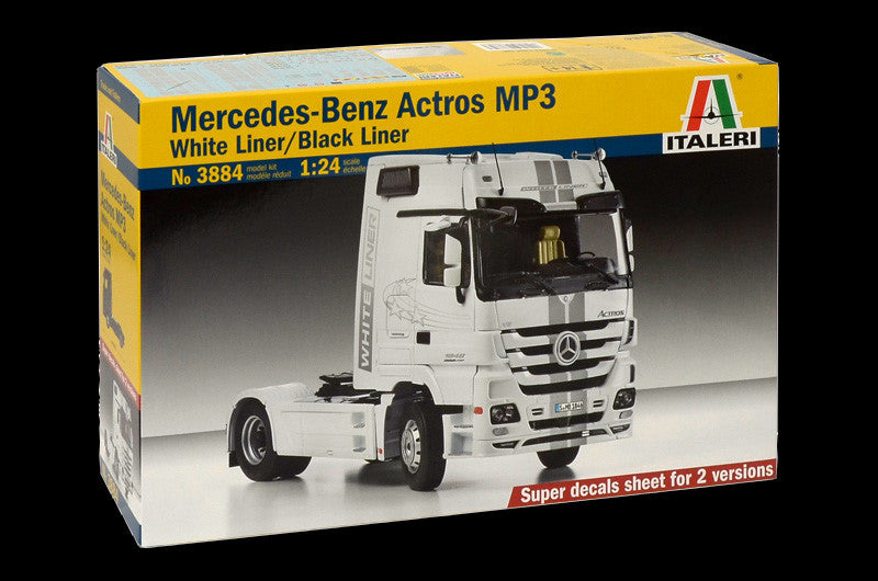 Italeri Model Cars 1/24 Mercedes Benz Actros MP3 White/Black Liner Tractor Cab Kit