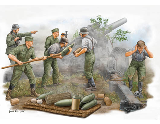 Trumpeter Military Models 1/35 German Field Howitzer Firing Crew Figure Set (5) Kit