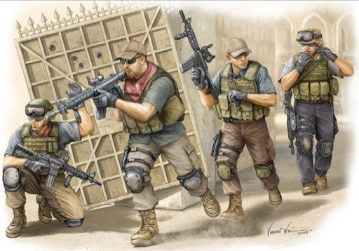 Trumpeter Military Models 1/35 PMC Fire Movement Team in Iraq Figure Set (4) Kit