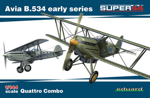 This is a plastic model assembly kit of the Eduard 1/144 scale Czech Air Force Avia B534 Pre-WWII Era Early Series Quattro Combo Ltd. Edition aircraft.