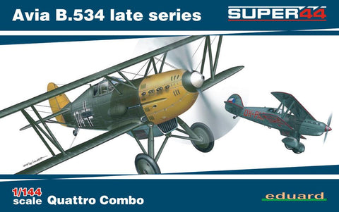 This is a plastic model assembly Ltd Edition kit of the Eduard 1/144 scale Czech Air Force Avia B534 Pre-WWII Era Late Series Quattro Combo aircraft.