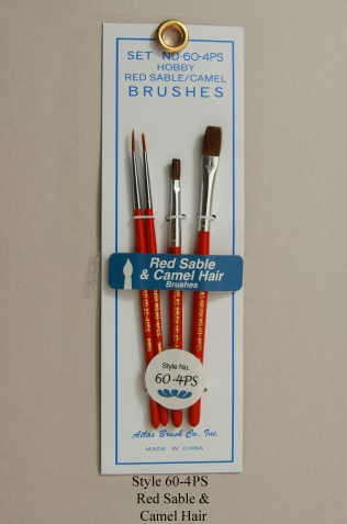 Atlas Brush Co. 4 Piece Red Sable Flat/Round Brush Set