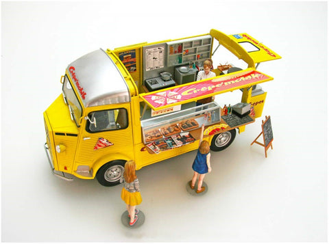 Ebbro Model Cars 1/24 Citroen Type H Mobile food Truck w/Interior Details & Figures Kit