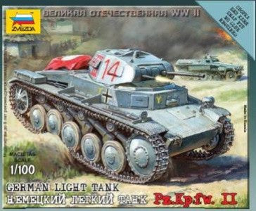 Zvezda Military 1/100 German PzKpfw II Light Tank Snap Kit