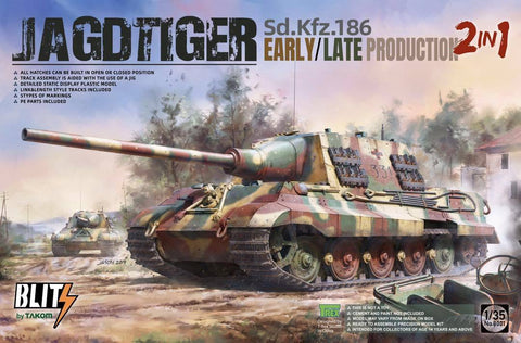 Takom 1/35 Jagdtiger SdKfz 186 Early/Late Production Tank (2 in 1) (New Tool) Kit