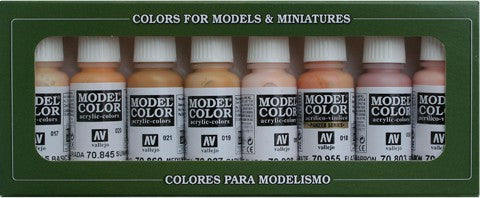 Vallejo Acrylic 17ml  Bottle Face & Skin Tones Model Color Paint Set (8 Colors)