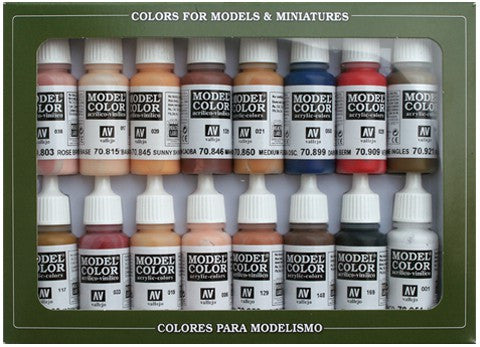 Vallejo Acrylic 17ml  Bottle Face & Skin Tones Model Color Paint Set (16 Colors)