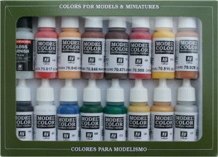 Vallejo Acrylic 17ml  Bottle American Revolution Model Color Paint Set (16 Colors)