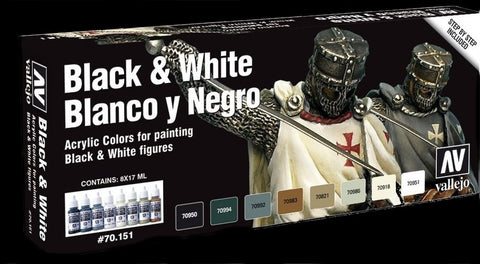 Vallejo Acrylic 17ml  Bottle Blacks & Whites Model Color Paint Set (8 Colors)