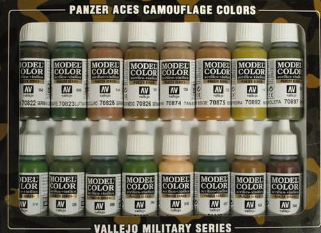 Vallejo Acrylic 17ml  Bottle Camouflage Panzer Aces Paint Set (16 Colors)