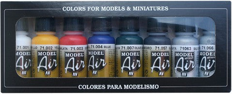 Vallejo Acrylic 17ml  Bottle Basic Model Air Paint Set (8 Colors)
