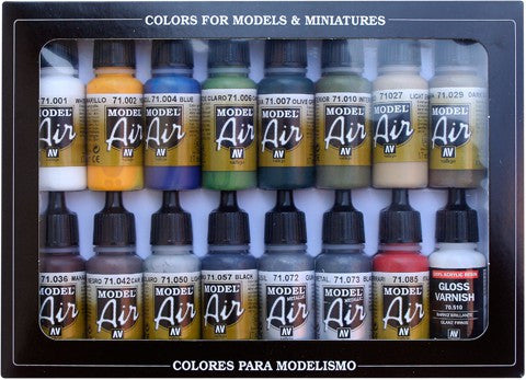 Vallejo Acrylic 17ml  Bottle Building Model Air Paint Set (16 Colors)