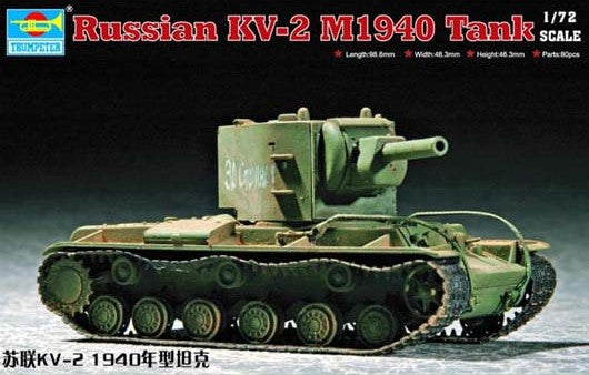 Trumpeter Military Models 1/72 Russian KV2 Mod 1940 Tank Kit