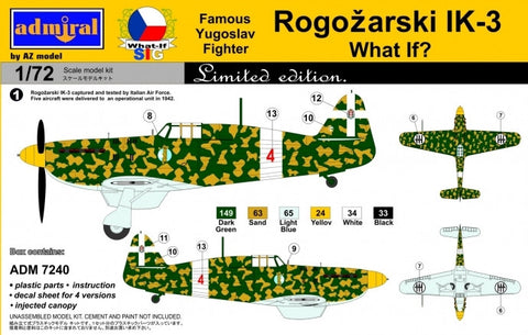 Admiral Models Aircraft 1/72 Rogozarski IK3 Yugoslav Fighter (Ltd Edition) Kit