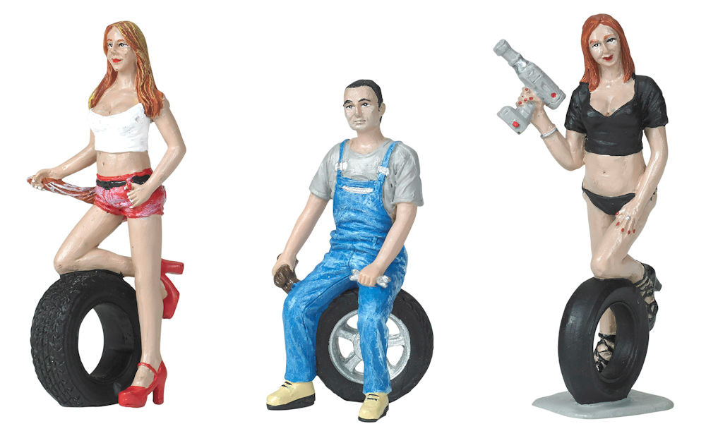 Motorhead 1/24 Tire Brigade™ Figures Set: Andie, Derek & Michele w/Tires & Tools