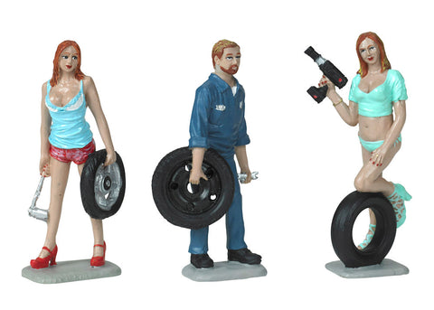 Motorhead 1/24 Tire Brigade™ Figures Set: Meg, Gary & Michele w/Tires & Tools