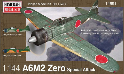 Minicraft Model Aircraft 1/144 A6M2 Zero Special Attack Fighter Kit