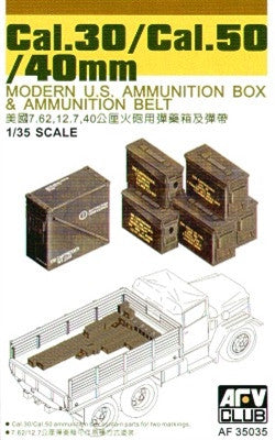 AFV Club Military 1/35 .30/.50 Cal. 40mm Modern US Ammo Boxes & Belts Kit