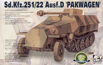 AFV Club Military 1/35 SdKfz 251/22 Ausf D Halftrack w/Self-Propelled Howitzer Gun Kit