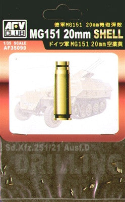 AFV Club Military 1/35 MG151 20mm Ammo Shells (20pc) (Brass) Kit
