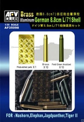 AFV Club Military 1/35 German 8.8mm L/71 Ammo Shells for Nashorn, Elephant, Jagdpanther & Tiger II Kit