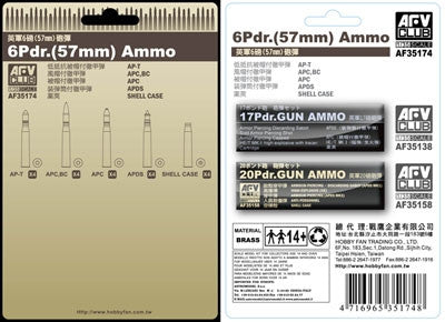 AFV Club Military 1/35 6-Pdr 57mm Ammo (Brass) Kit