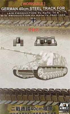 AFV Club Military 1/35 PzKpfw III Late/IV Mid 40cm Steel Type Workable Track Links Kit