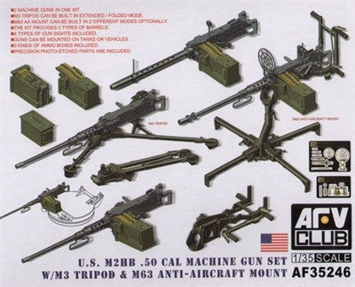 AFV Club Military 1/35 US M2HB .50Cal MG w/M3 Tripod & M63 AA Mount Kit