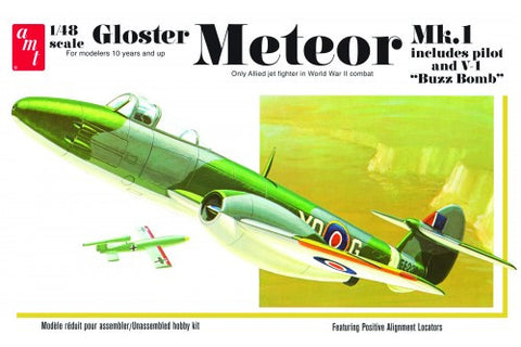 AMT Aircraft Models 1/48 Gloster Metor Mk 1 WWII Allied Jet Fighter Kit