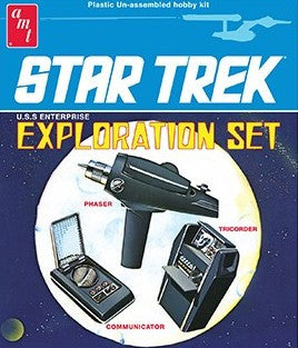 AMT Sci-Fi Models 1/3 Star Trek Exploration Set: Phaser, Tricolor & Communicator Kit