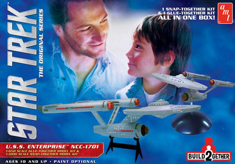 AMT Sci-Fi Models 1/650 & 1/1000 Star Trek USS Enterprise NCC1701 (1 Snap & 1 Glue Kit)
