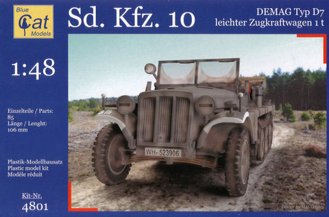 Blue Cat Models Military 1/48 SdKfz 10 Demag Type D7 1t Leichter Zugkraftwagen Kit