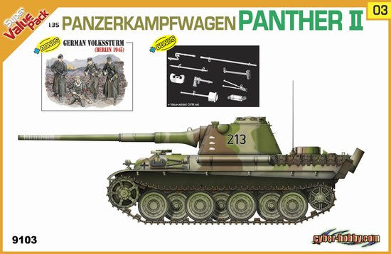 Cyber-Hobby Military 1/35 PzKpfw Panther II Tank w/Crew Kit