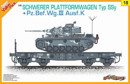 Cyber-Hobby Military 1/35 Schwerer Type SSy Railcar & PzBefwg III Ausf K Tank Kit