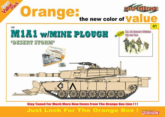 Cyber-Hobby Military 1/35 M1A1 Tank w/Mine Plow & US 1st Infantry Div Big Red One Kit