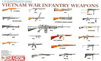 Dragon Military 1/35 Vietnam War Infantry Weapons (44 Various Types) (Re-Issue) Kit