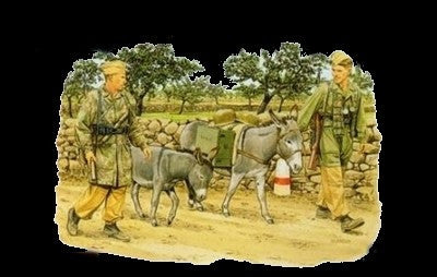 Dragon Military 1/35 German Fallschirmjager w/Donkeys (2ea) (Re-issue) Kit