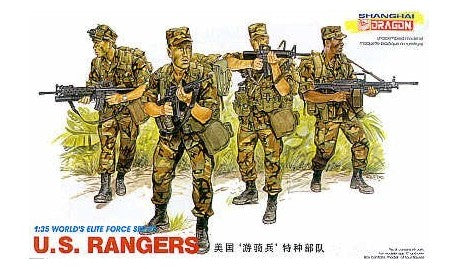 This is a plastic military miniature set of the Dragon models 1/35 scale famous US Army Rangers includes 4 highly detailed figures Kit
