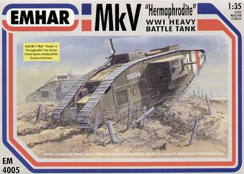 Emhar Military 1/35 WWI British Hermaphrodite Mk V Tank Kit