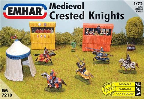 Emhar Military 1/72 Medieval Crested Knights (7 Mtd, 1 Foot, Grandstand & Tent) Kit